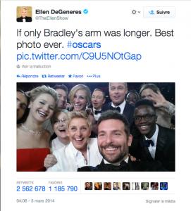 Le tweet d'Ellen DeGeneres est devenu le plus retweeté de l'histoire du réseau social.