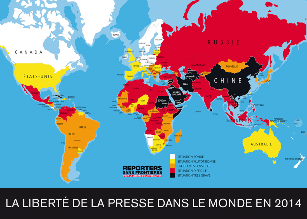 Baromètre de la liberté de la presse dans le monde en 2014