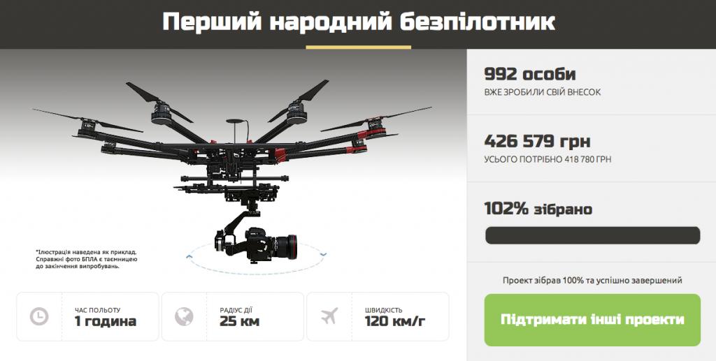 """Le site """"projet du peuple"""" a récolté plus de 26000 euros pour l'achat d'un drone. (capture écran http://www.narodniy.org.ua/)"""