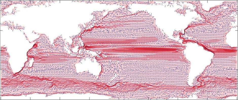 Cette carte montre comment les courants océaniques, et par conséquent la pollution, migrent. (capture http://dx.doi.org/10.1063/1.4892530)