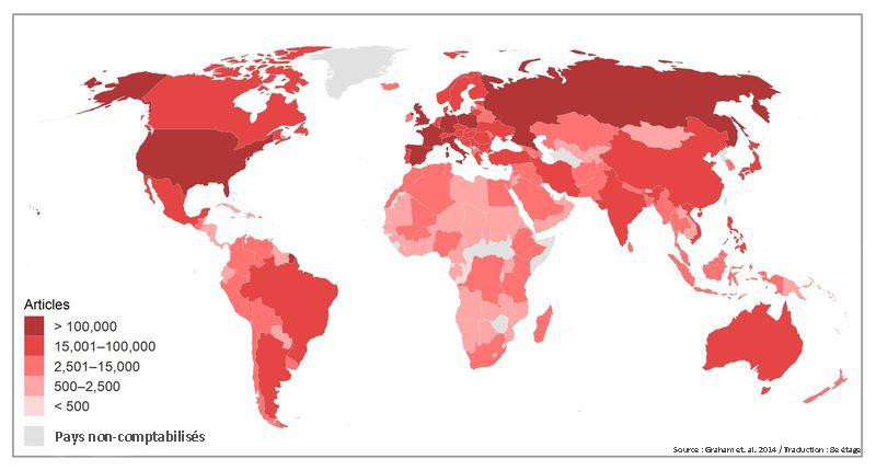 L'Afrique, l'Amérique du Sud et l'Asie sont très largement sous-représentées.