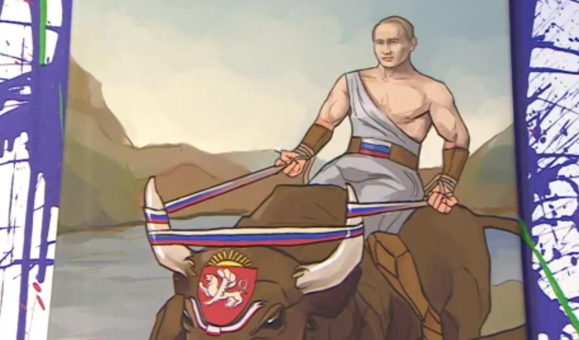 """Vladimir Poutine chevauche le taureau """"Crimée"""" après l'avoir dompté.  (capture d'écran http://www.bbc.com)"""