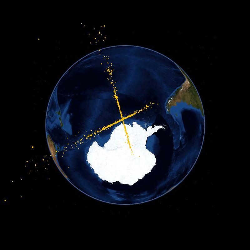 Les débris générés par la collision des deux satellites. (Rlandmann)