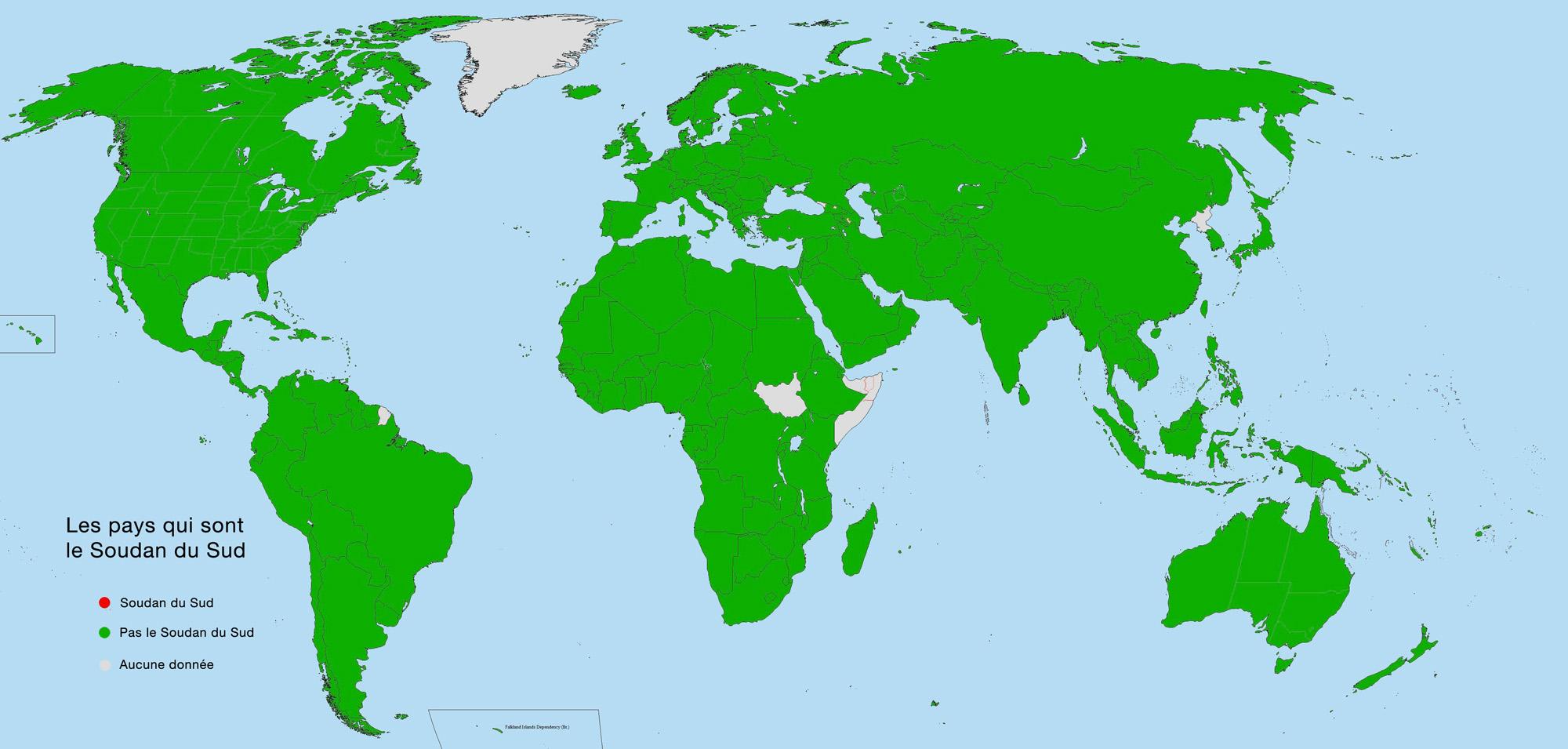 Carte des pays qui sont ou ne sont pas le Soudan du Sud. (reddit/xcrissxcrossx)