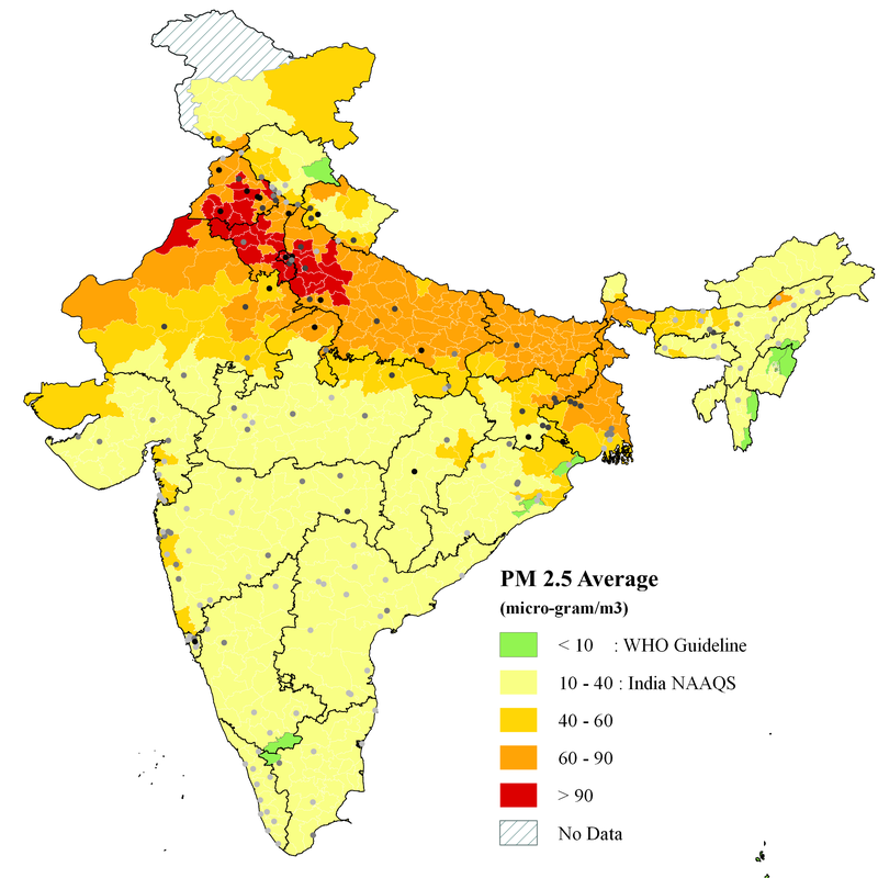 La concentration de particules en suspension en Inde. (Greenstone et al, 2015)