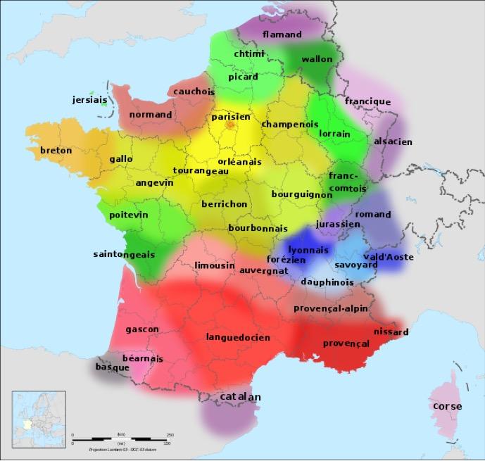 """""""Langues de la France"""" by Langues_de_la_France1.gif: Taken from Lexilogos.com with permission from the copyright holder: """"oui pour Wikipédia! je vous demanderais de préciser la source en plaçant un lien vers cette page""""Départements_de_France-simple.svg: SuperManuFile:France map Lambert-93 with regions and departments-blank.svg: Eric Gaba (Sting - fr:Sting)derivative work: Hellotheworld (talk) — Langues_de_la_France1.gifDépartements_de_France-simple.svg. Licensed under CC BY-SA 3.0 via Wikimedia Commons."""