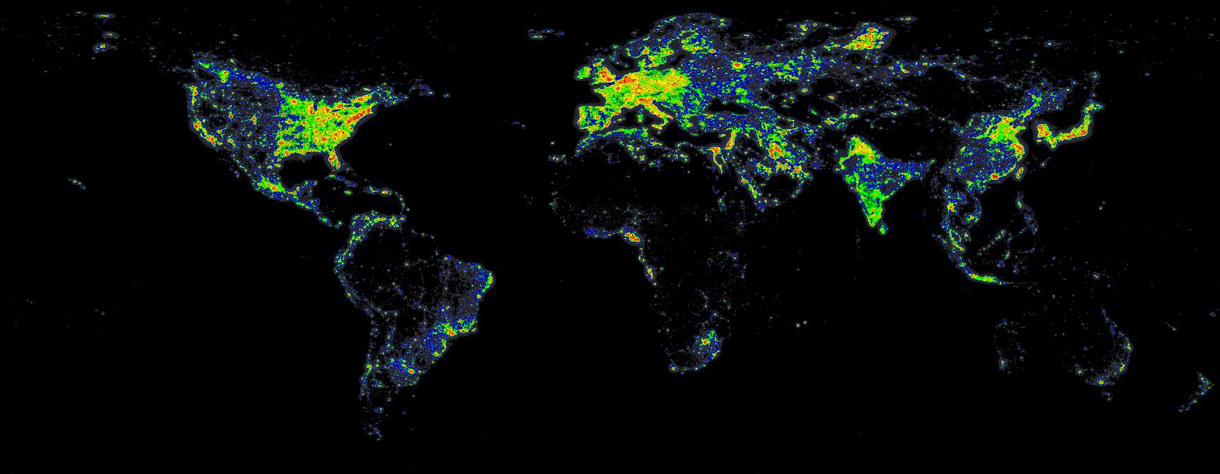(Crédit: David Lorenz, Light Pollution Atlas 2006)