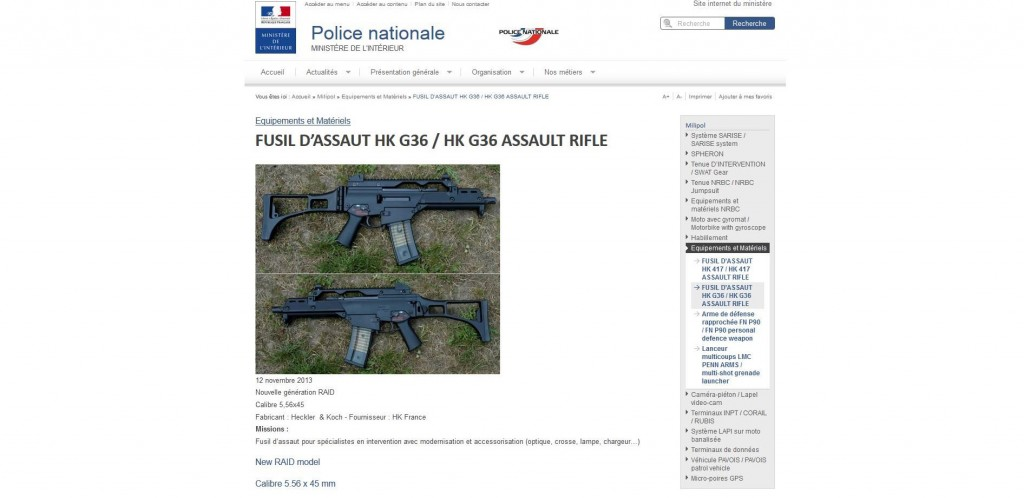 Un HK G36 sur le site de la police nationale. (screenshot)
