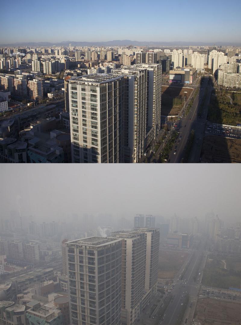 """Différence entre un jour """"sans pollution"""" et un jour ou le """"smog"""" engloutit Pékin. (photo flickr/ Peter Barwick)"""