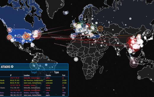 Une capture d'écran de la carte disponible ci-dessous. (Norse Corporation)