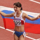 SINGAPORE, 21 Aug 2010 - Ekaterina Bleskina of Russia celebrates after the girls' 100m hurdles final at Singapore 2010 Youth Olympic Games at Bishan Sports Hall in Singapore, August 21, 2010. Bleskina won the gold medal of the event with 13.34 Seconds.