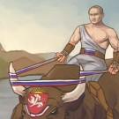 """Vladimir Putin chevauche le taureau """"Crimée"""" après l'avoir dompté.  (capture d'écran http://www.bbc.com)"""