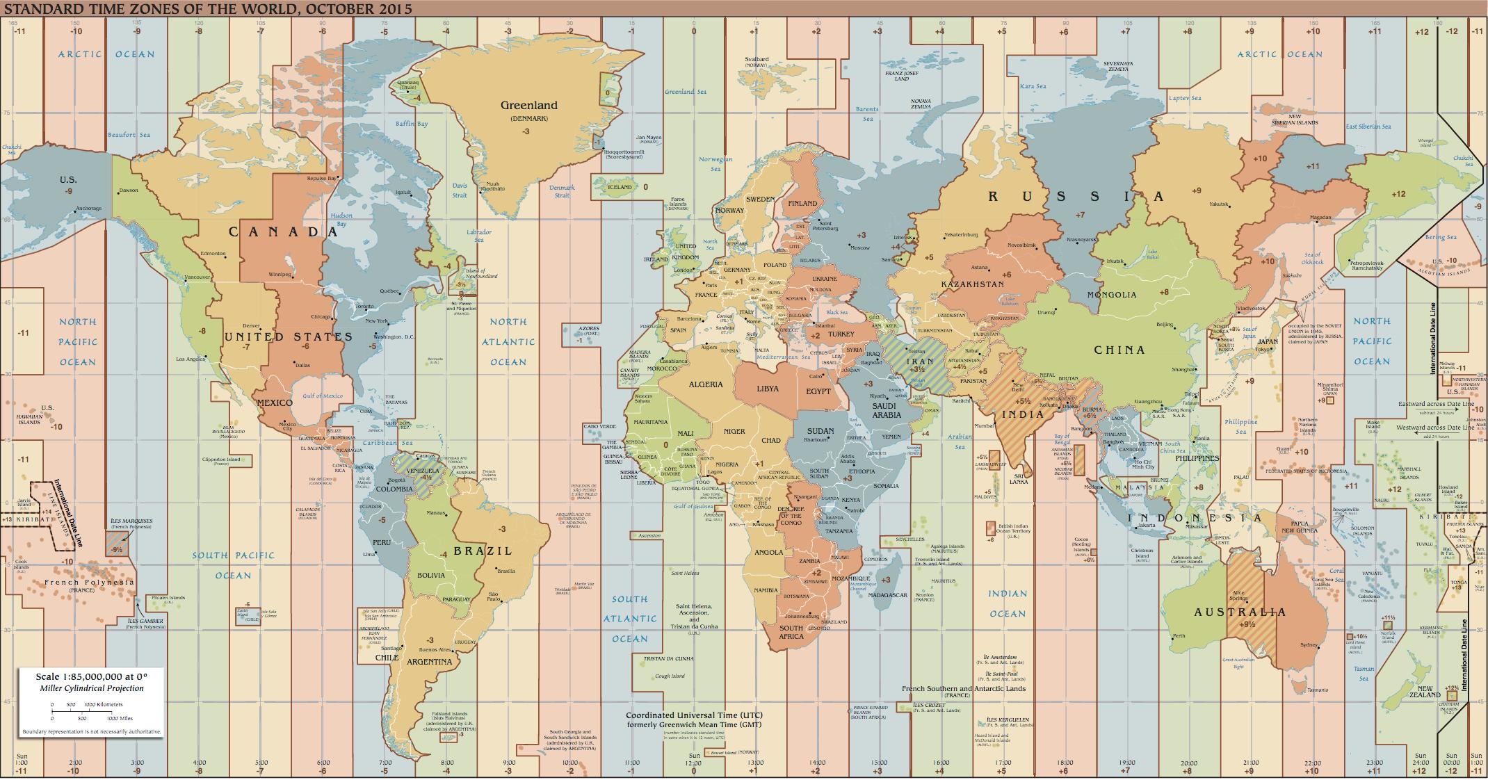 L'heure dans le monde par rapport au « temps universel coordonné » (ou UTC) L'heure dans le monde par rapport au « temps universel coordonné » (ou UTC) (Source : CIA World Factbook)