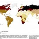 Cette carte de l'OMS illustre la consommation totale par adulte de plus de 15 ans en litres d'alcool pur en 2010
