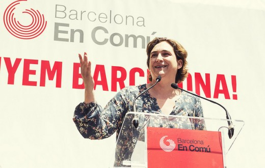 Ada Colau lors d'un meeting de campagne le 9 mai dernier. (Photo Flickr/ Barcelona En Comú)