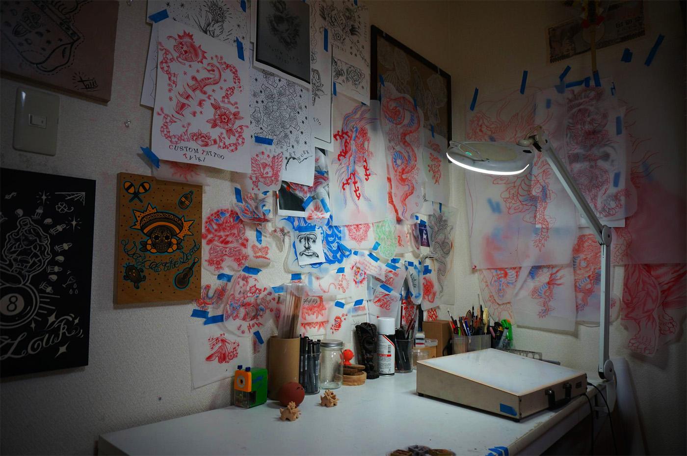L'atelier de Taiki Masuda. (photo Jean-François Heimburger & Audrey Ronfaut)
