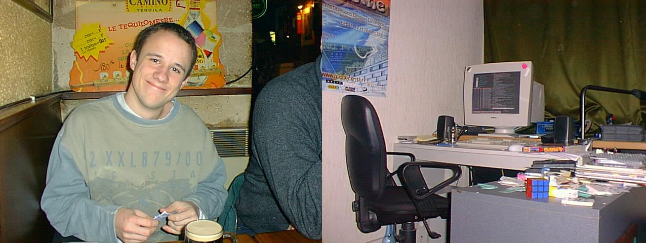 Samuel Hocevar en 1998 et l'ordinateur, dans sa chambre étudiante, sur lequel il a travaillé sur VLC. (photo Samuel Hocevar)