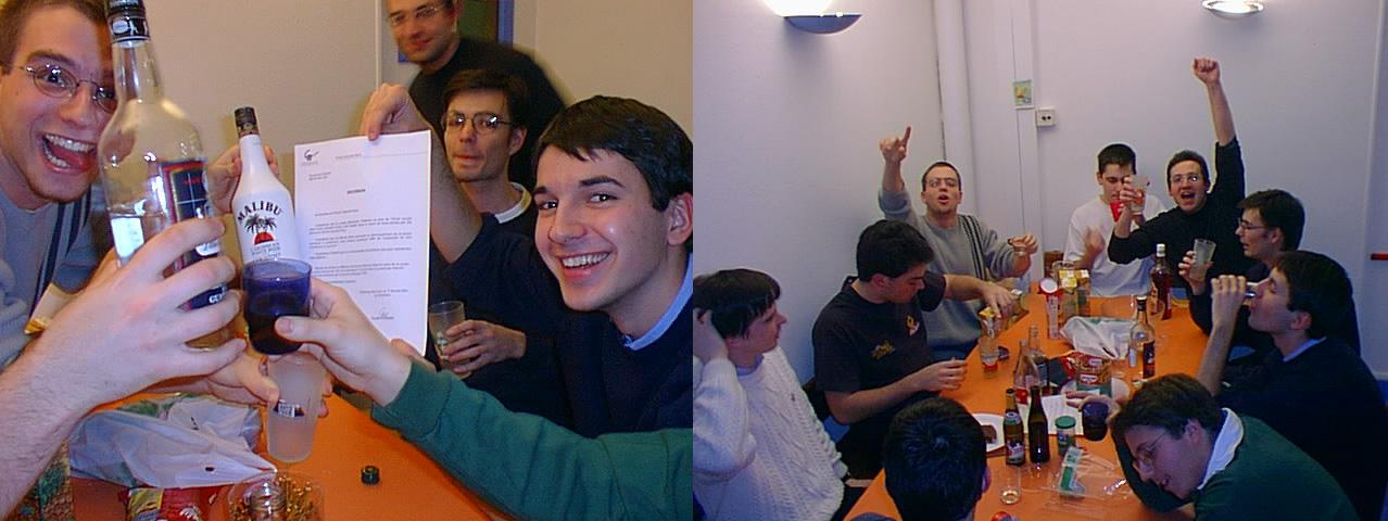 L'équipe de VideoLan le soir de la signature par le directeur de Centrale de la mise sous licence libre de VLC.