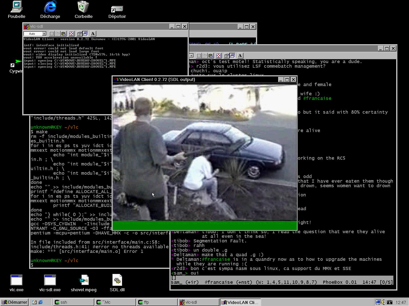La toute première version Windows de VLC, développée par un contributeur anonyme et envoyée directement à l'équipe de VideoLan.