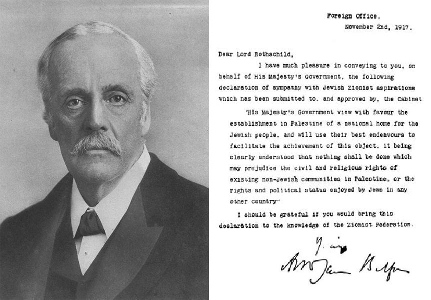 (Photo Wikimedia/Balfour et le texte de la Déclaration)