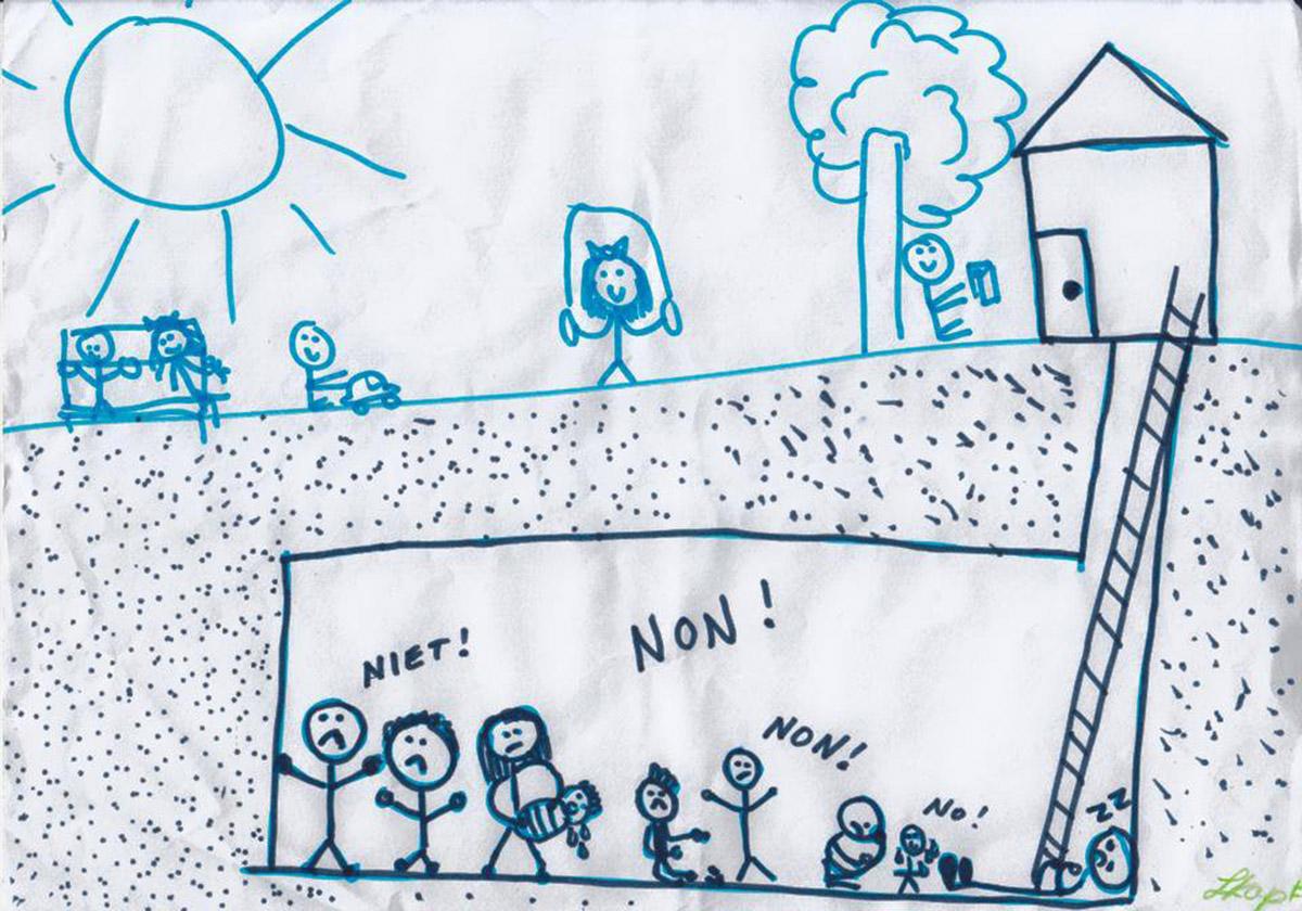 Le dessin d'une fillette migrante hébergée dans un foyer. (©Collection sans retour)