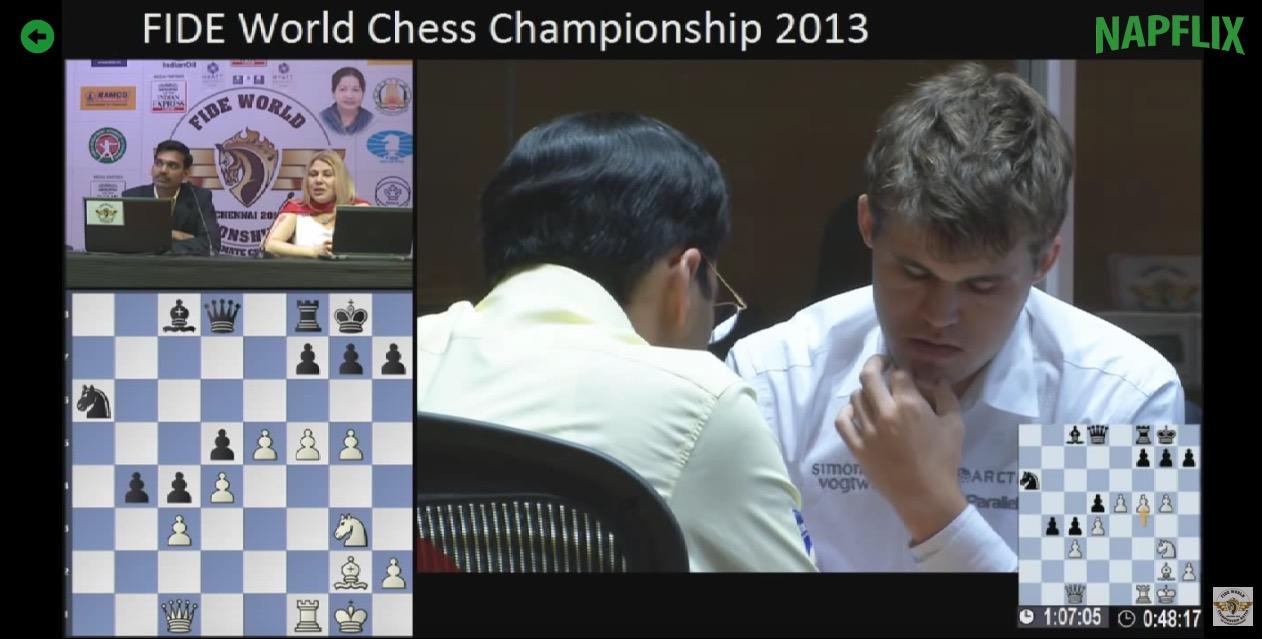 Parmi les contenus proposés, l'intégralité d'un match du Championnat du monde d'échecs 2013 opposant l'Indien Viswanathan Anand au Norvégien Magnus Carlsen. (Capture d'écran Napflix)