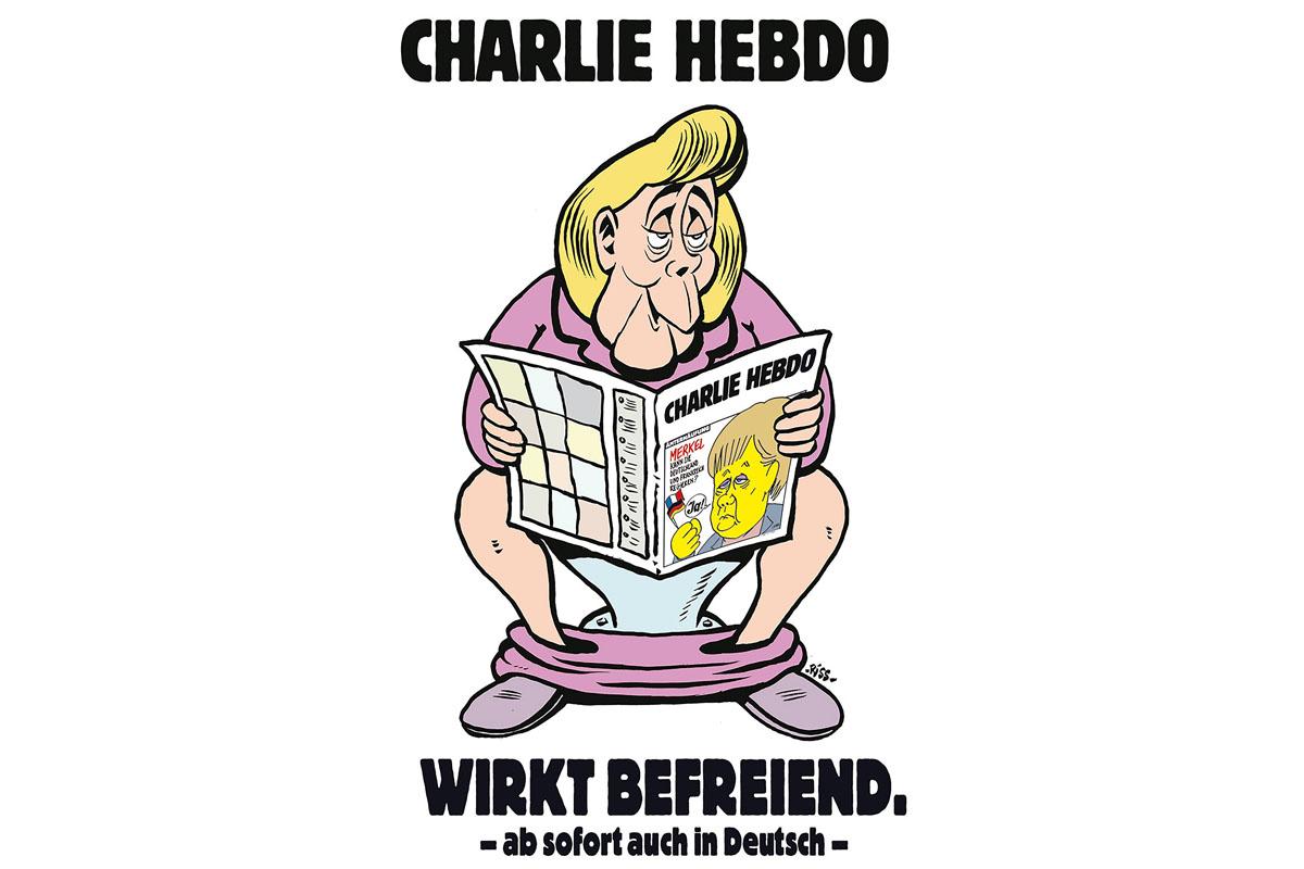 """""""Charlie Hebdo, le journal qui détend"""", publicité de lancement pour Charlie Hebdo en Allemagne."""