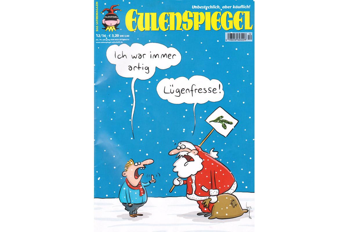 La dernière une Eulenspiegel remet dans la bouche du Père Noël une des insultes favorites de la «droitosphère» allemande à l'égard des médias et de la classe politique (Lügenfresse: gueule à mensonges), en réponse à un enfant qui jure avoir été sage cette année.