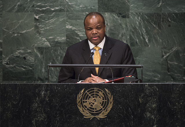 Le roi Mswati III s'exprime lors de à l'occasion du débat annuel de l'Assemblée générale des Nations unies en 2015. (Photo Flickr/ United Nations Photo)