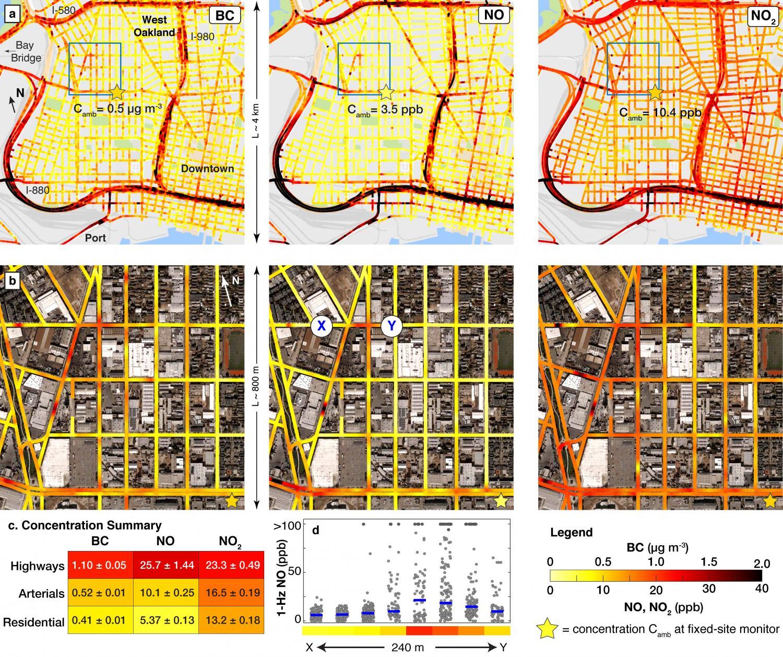 Cartographie, en haute résolution, de la pollution atmosphérique à  Oakland et son centre-ville. (Crédit: American Chemical Society)