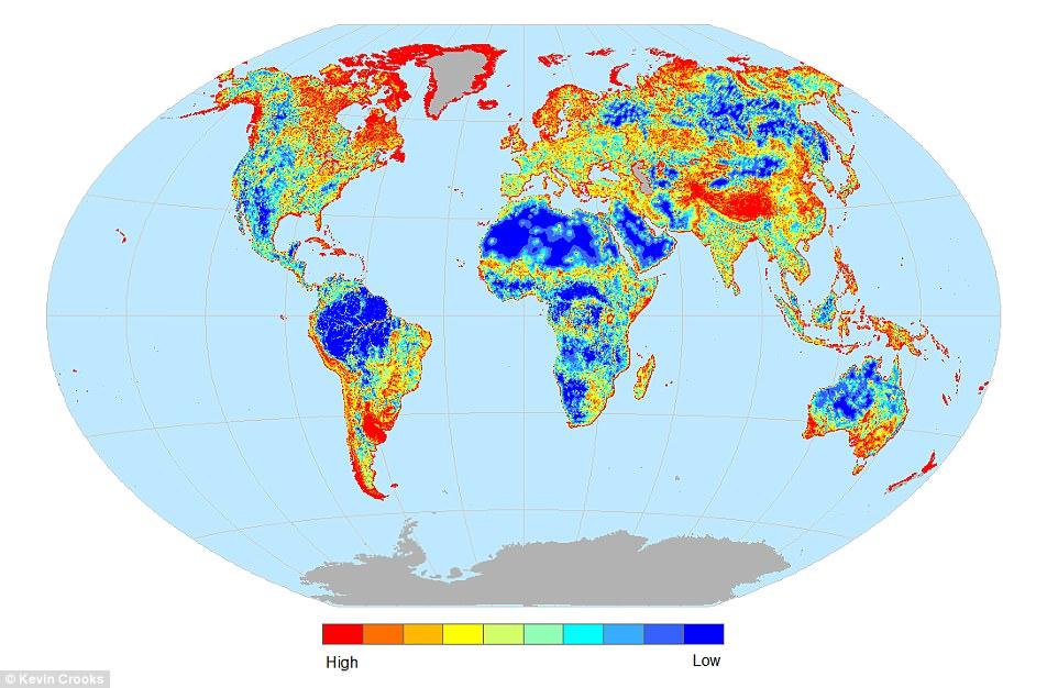 Plus une zone est rouge, plus les habitats sont fragmentés.  (Source Kevin R. Crooks)
