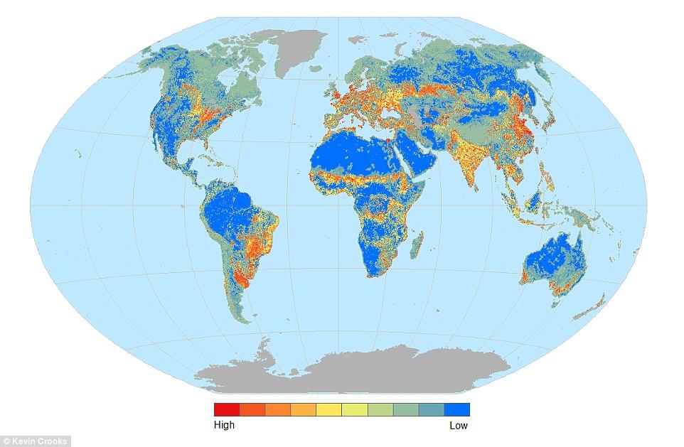 Plus une zone tend vers le rouge, plus la fragmentation des espaces naturels est la résultante d'activités humaines. cliquez pour agrandir (Source )