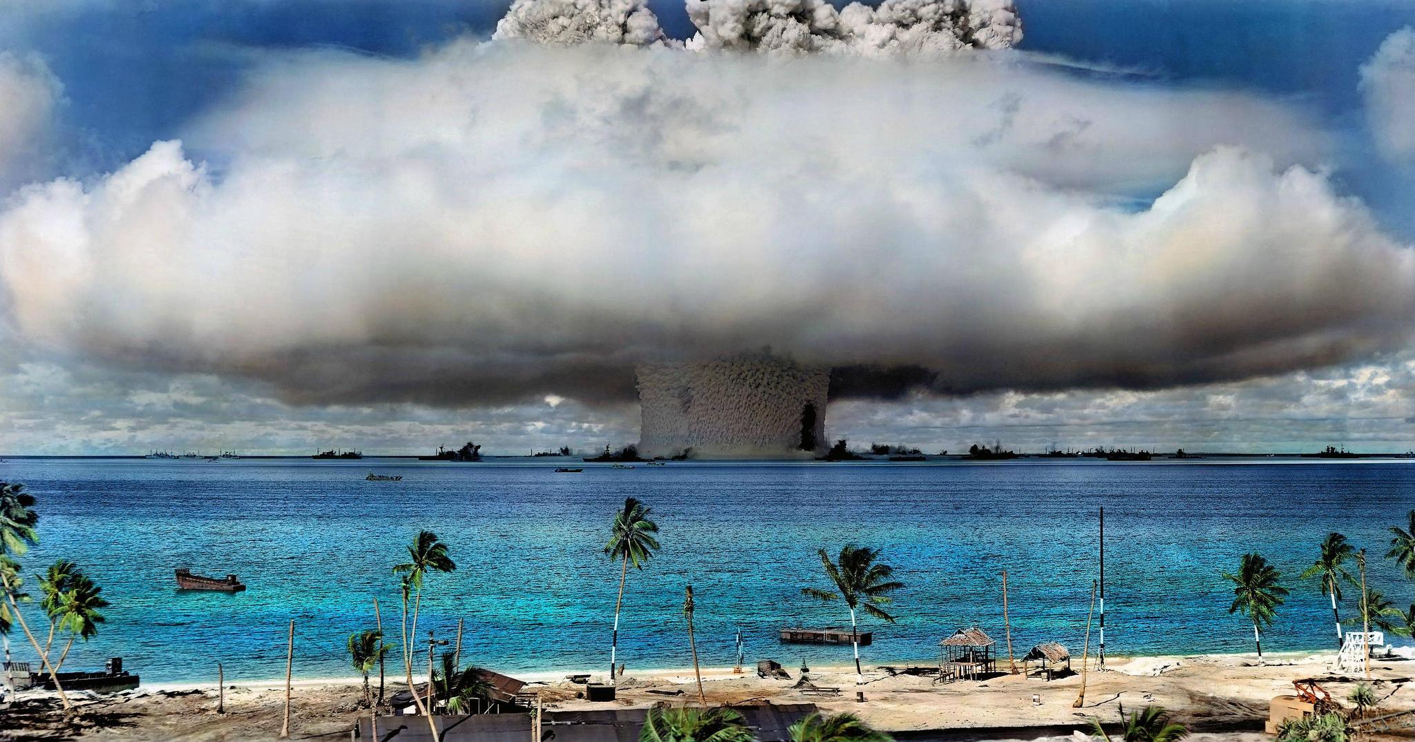 Un essai d'arme atomique mené par les États-Unis à proximité de l'atoll de Bikini, dans les îles Marshall. (Photo Flickr/International Campaign to Abolish Nuclear Weapons)