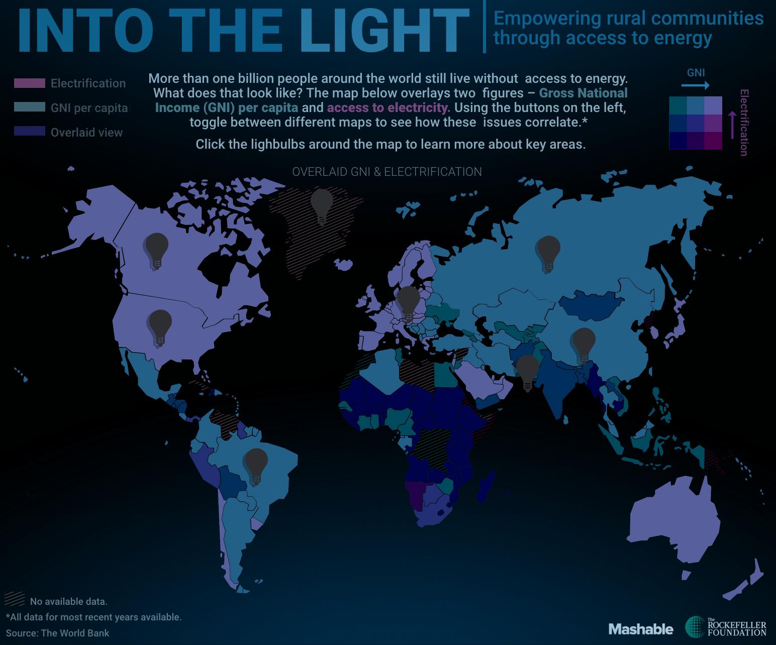 Taux d'électrification en regard du PIB des pays. (Source Mashable)