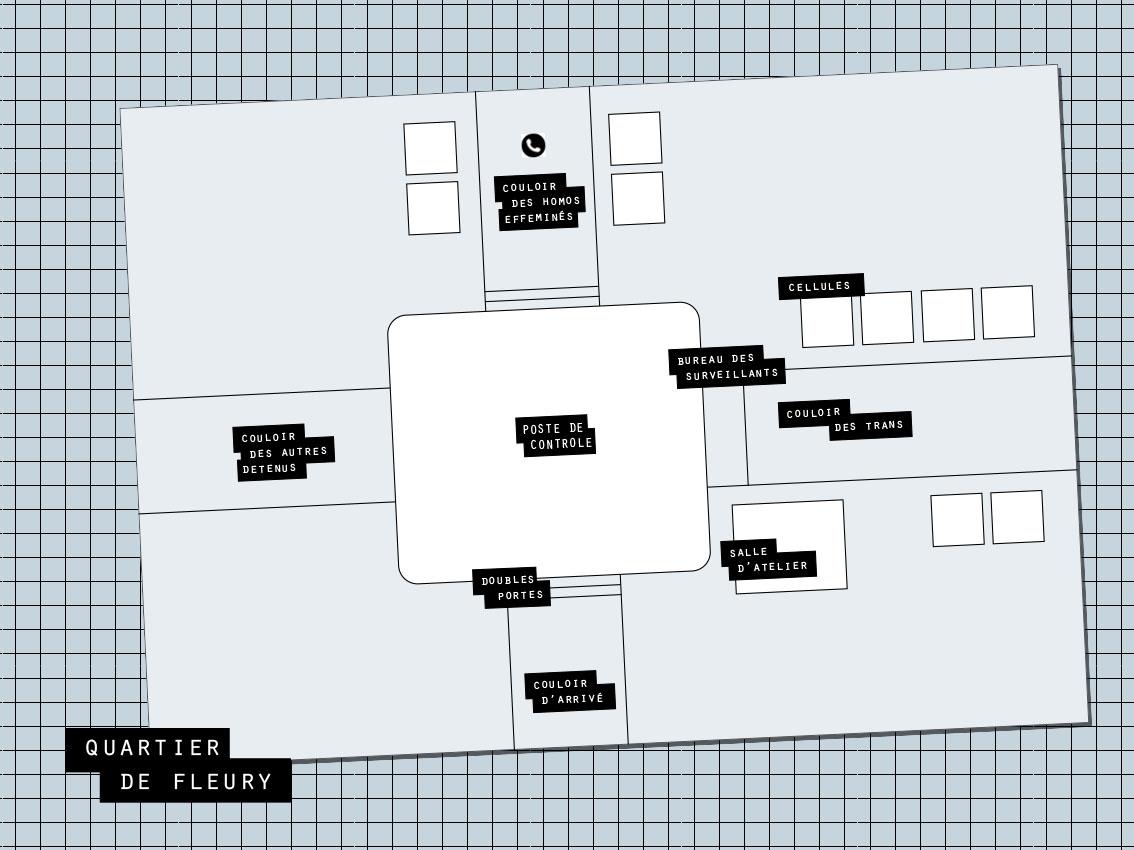"""Plan du """"quartier trans""""  tel que décrit par Alexandra. (Illustration Anissa Katz/ 8e étage)"""