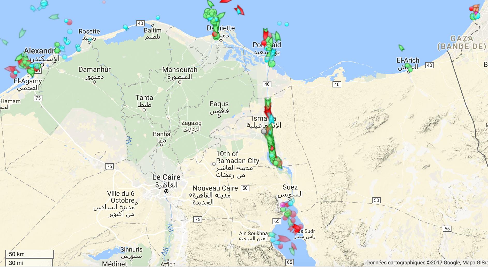 Un zoom sur le Canal de Suez suffit pour comprendre toute son importance stratégique. (Capture d'écran )