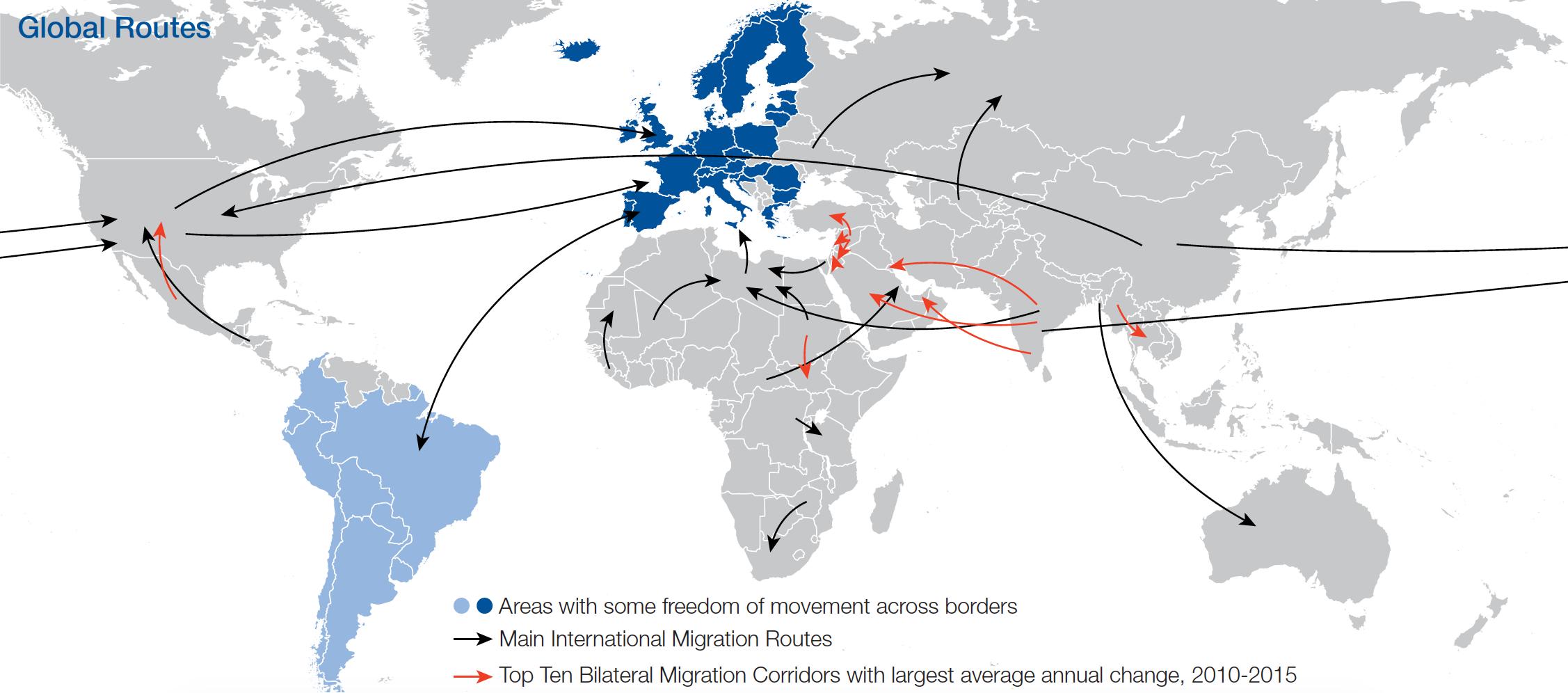 Les «routes migratoires» mondiales. (Sources Adams, 2015; Conant, Chwastyk & Williams, 2015; comme publiées dans le rapport «Migration and Its Impact on Cities» du Forum économique mondial)  (cliquez pour agrandir)