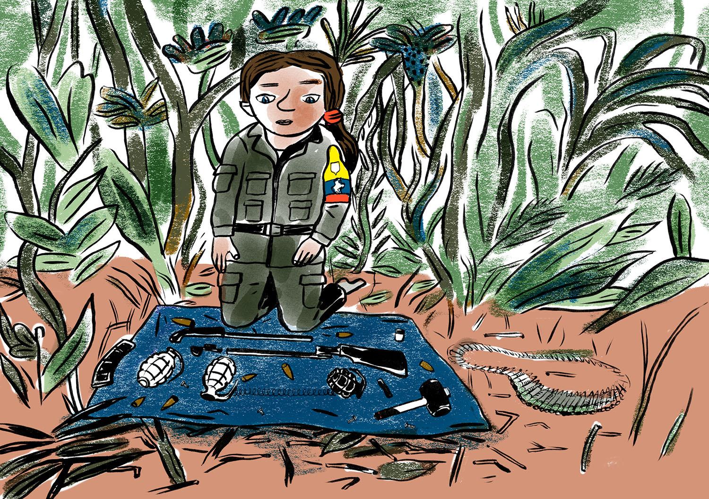 """""""On m'a appris à utiliser un fusil, à le monter, le démonter. À douze ans, l'entraînement terminé, j'étais considérée comme une guérillera."""" (Illustration Gala Vanson/8e étage)"""