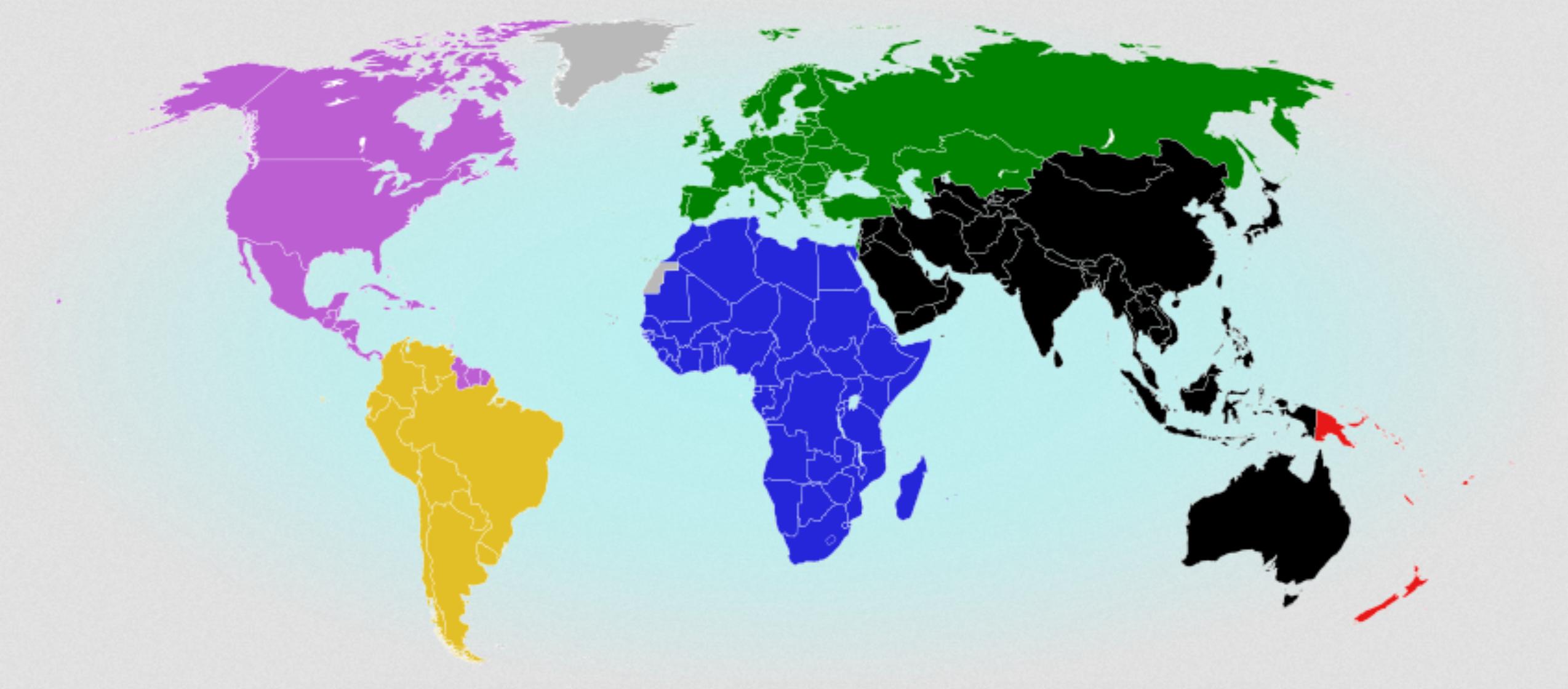 Les pays reconnus par la FIFA. cliquez pour agrandir (Crédit: Political Geography Now)
