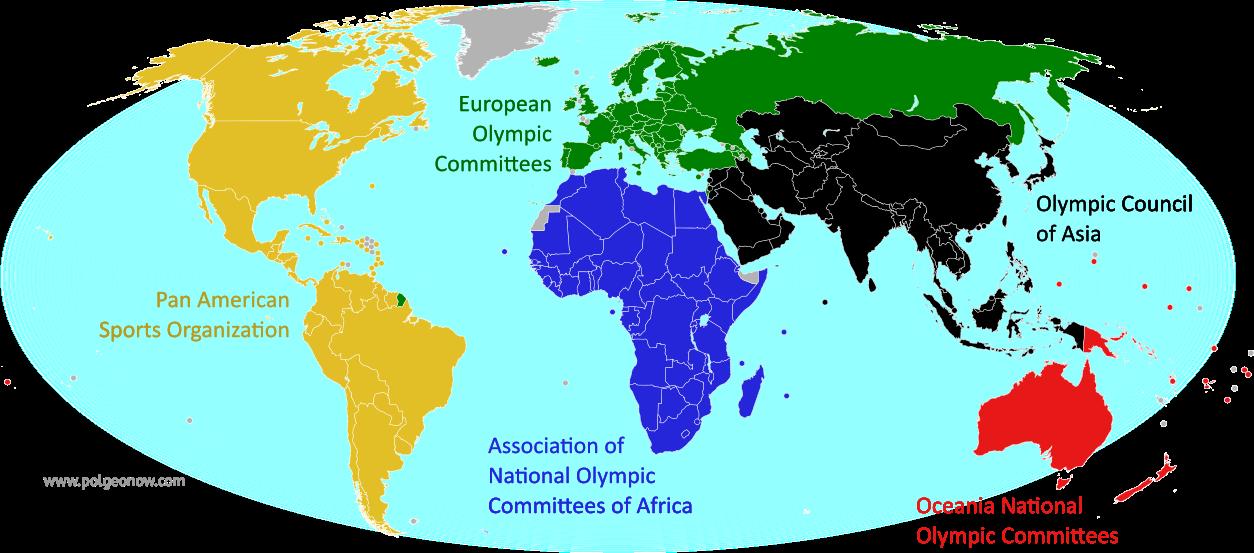 Carte des 206 Comités nationaux olympiques reconnus par le CIO. cliquez pour agrandir (Crédit: &Political Geography Now)