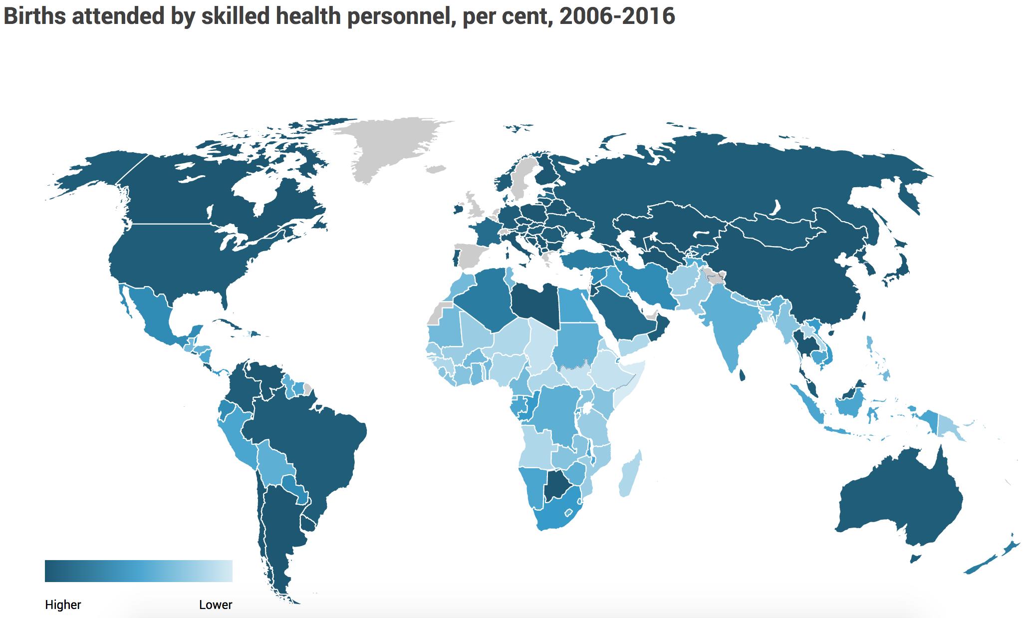 Naissances assistées par du personnel médical, en%, entre 2006 et 2016. (Capture d'écran UNFPA) cliquez pour agrandir