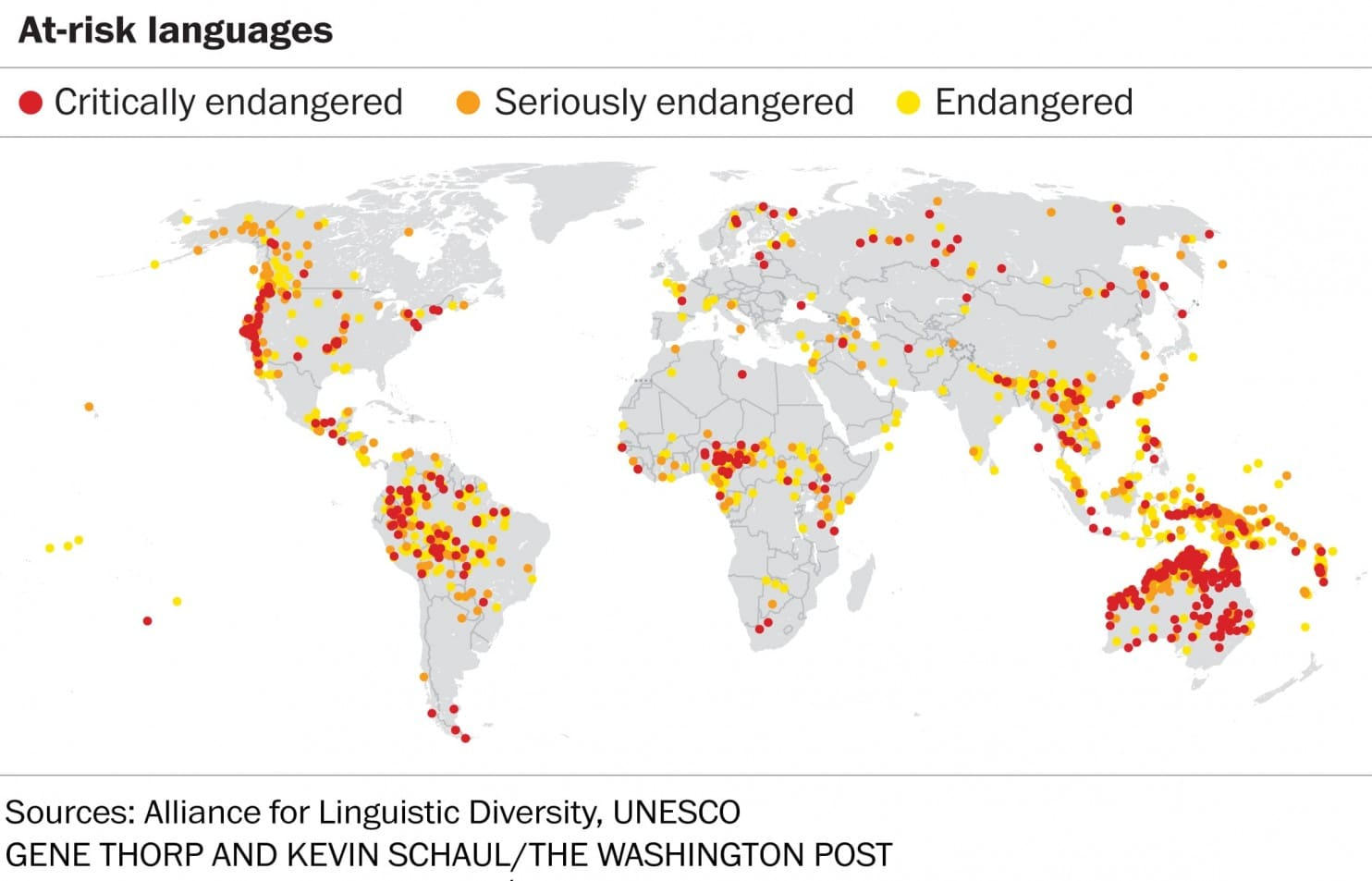 Les langues en danger. Les points rouges représentent les langues en danger critique d'extinction. En orange, celles en grave danger. En jaune, celles en danger.