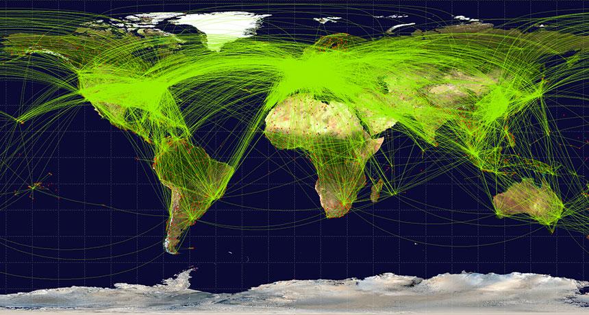 Le tourisme mondial, qui comprend le trafic aérien serait responsable  de 8% des émissions de gaz à effet de serre dans le monde. Cette carte représente les liaisons aériennes commerciales en juin 2009. (Crédit Jpatokal/Wikicommons (CC BY-SA 3.0) cliquez pour agrandir
