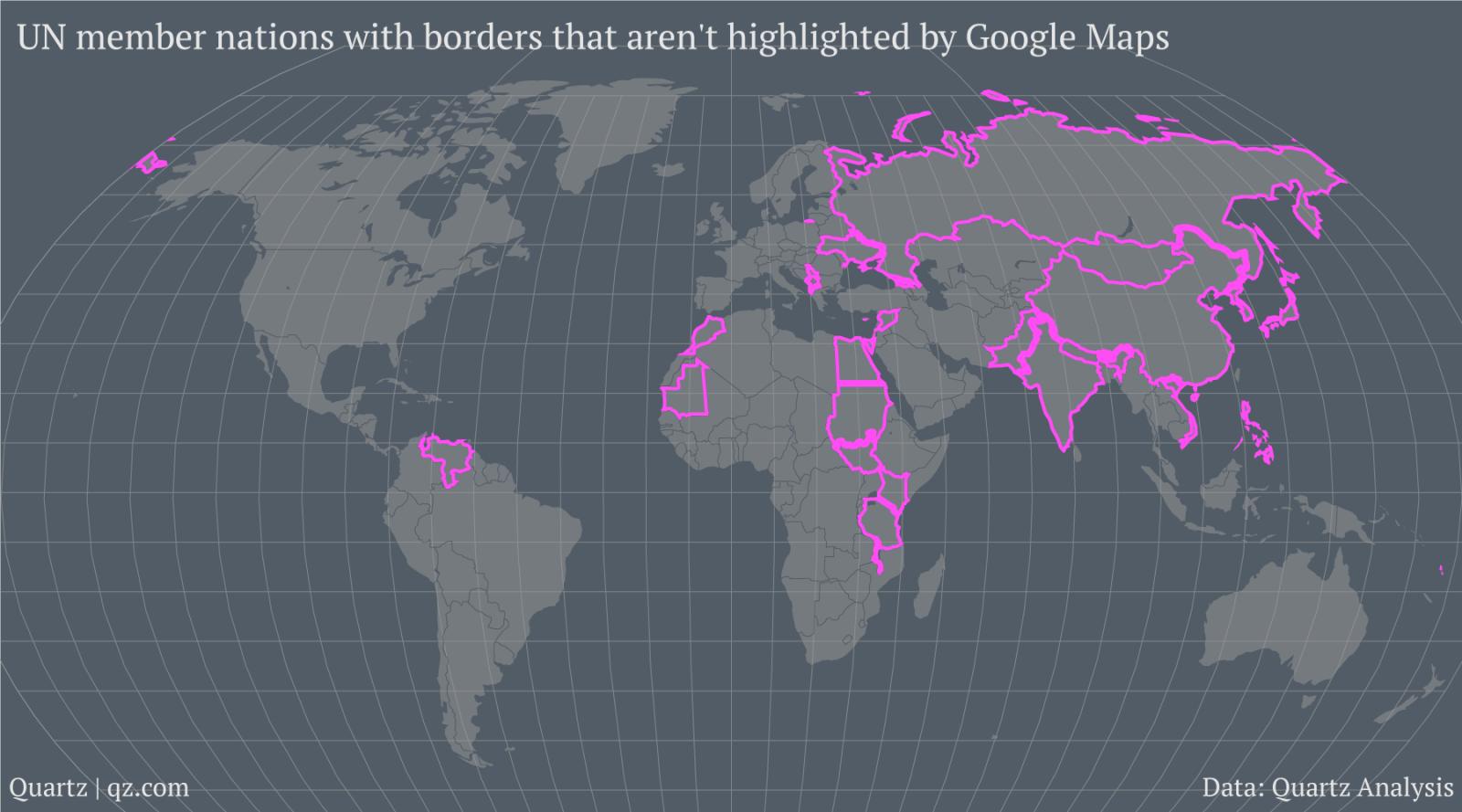 Les pays dont les frontières ne sont pas dessinées dans le monde entier comme des frontières définitives par Google.  (Crédit Quartz) cliquez pour agrandir