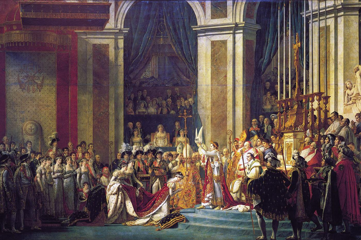 Napoléon 1er après avoir lu un article des Échos sur les performances françaises en Europe. (Piet d'après le sacre de Napoléon de Jacques-Louis David, 1808)